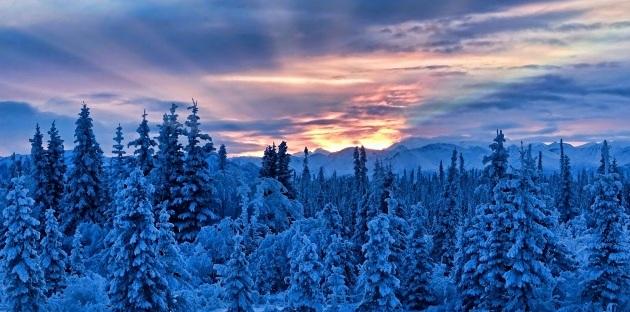 PAESAGGIO INNEVATO CON SOLE IN ALASKA